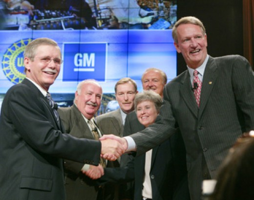 UAW President, Ron Gettelfinger and GM CEO Rick Wagoner