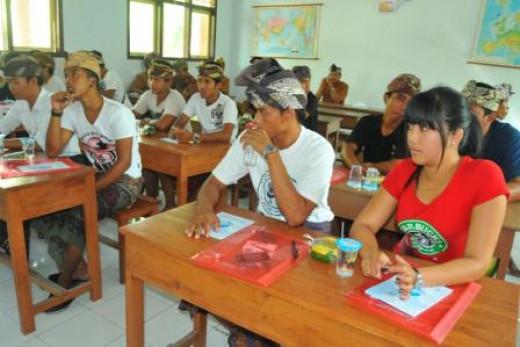 Teens in Jembrana, Bali, Indonesia. They learning in pasraman Hindu, Berangbang village, subdistrict Negara.