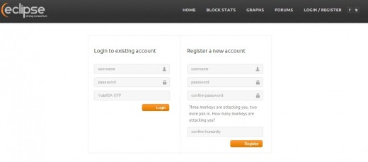 To start mining with EclipseMC you will need to register for a new account.