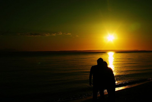 A romantic walk on the beach is a popular activity for couples.