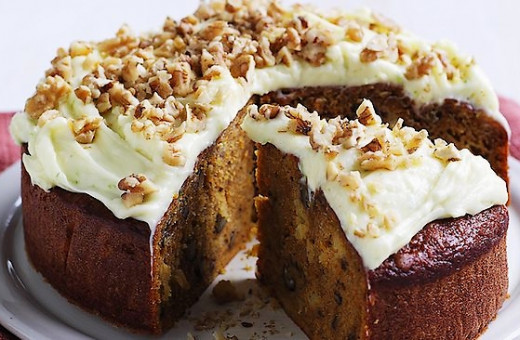 Moist carrot cake with walnuts