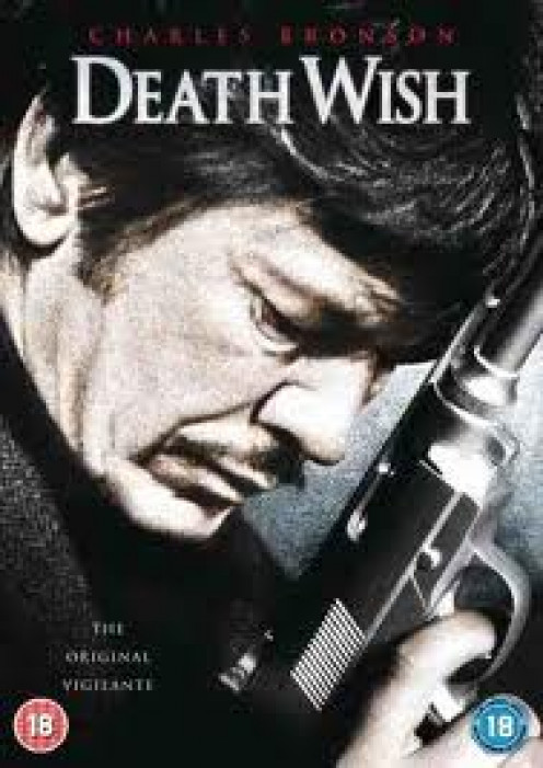Charles Bronson was the star in four Death Wish movies. His family was murdered so he becomes a vigilante.