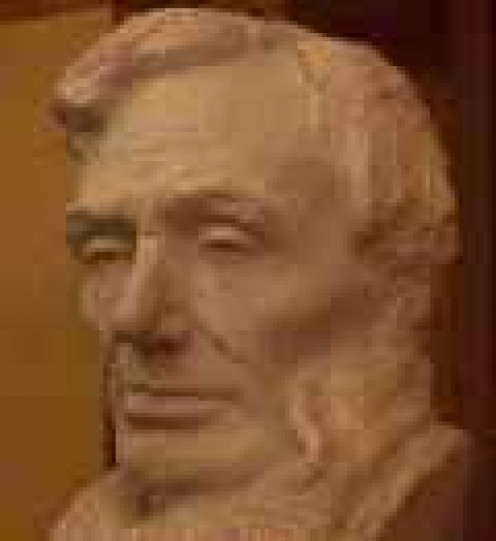 Bust of Lincoln in the Capitol Crypt. It was sculpted by Gutzon Borglum, who also produced Mount Rushmore in South Dakota.