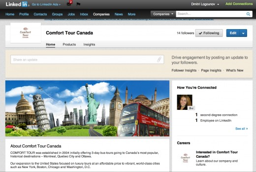 LinkedIn Page Set-up  for Comfort Tour Canada