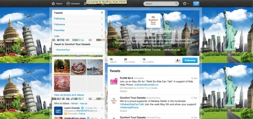 Twitter page design for Travel Company