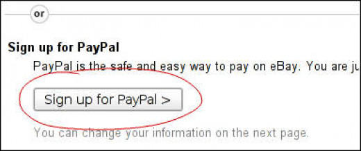 Hit sign up for Paypal to sign up for paypal.