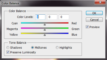The color balance window
