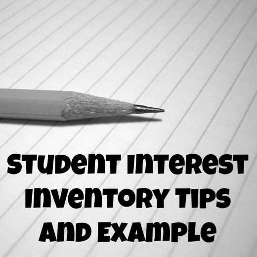 Student interest inventory tips and example.