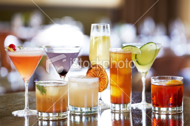 Variety of drinks and drink types