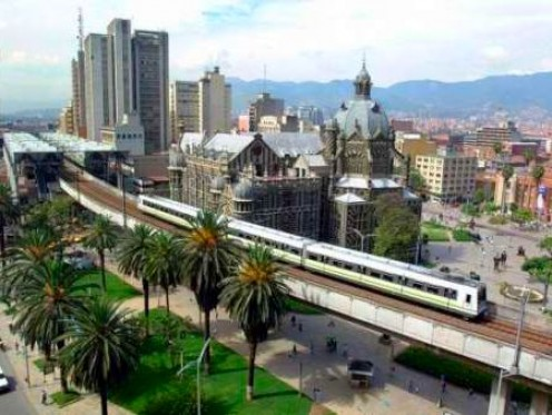 A view of Down Town Medellin from the Botero Museum