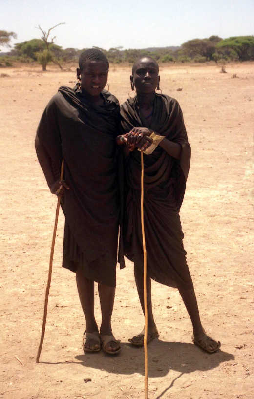 Two Masai teens who walk long distances.