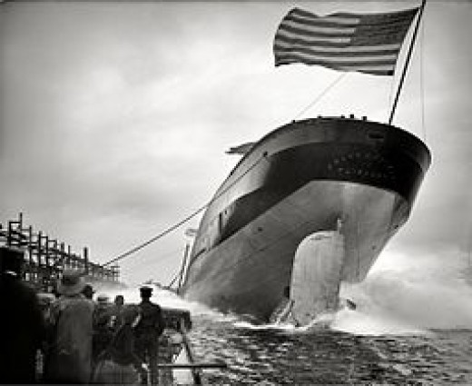 "September 2, 1905. St. Clair, Michigan. ""Launch of steamer Frank J. Hecker."""