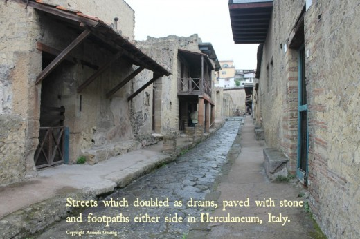 An ancient street in Herculaneum uncovered and intact after 1900 years.