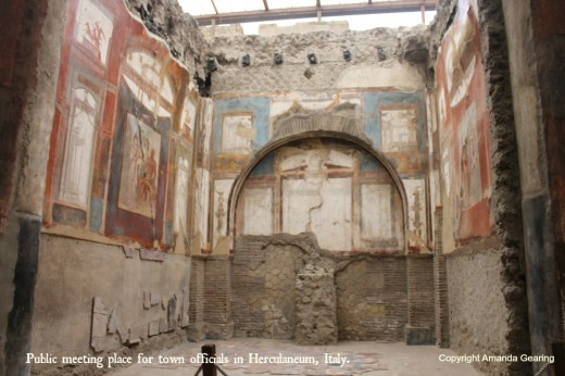 Town hall, complete with intricate wall frescoes in Herculaneum, excavated from 23m of ash from the eruption of Mount Vesuvius in AD79.