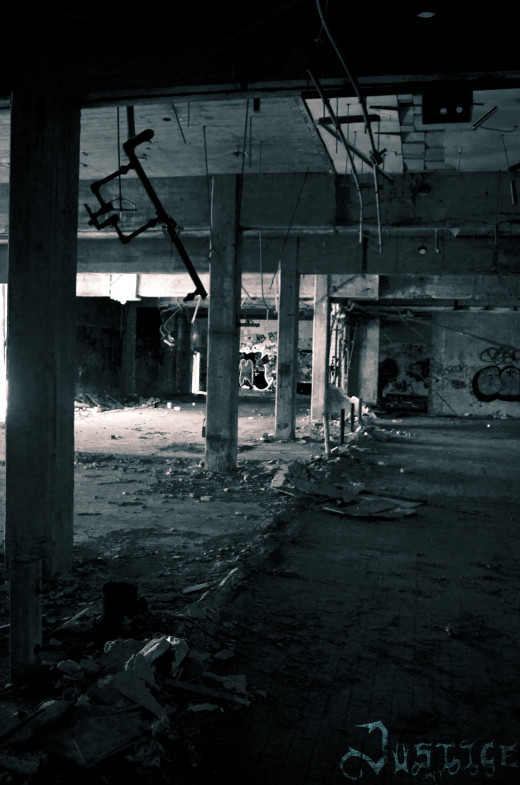 The inside of an abandoned factory in Detroit.