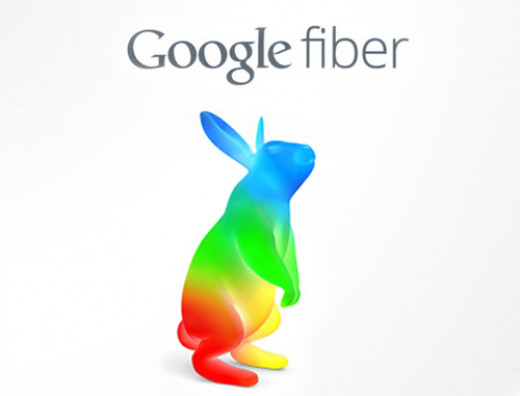 The familiar Google colors make up the Google Fiber bunny logo