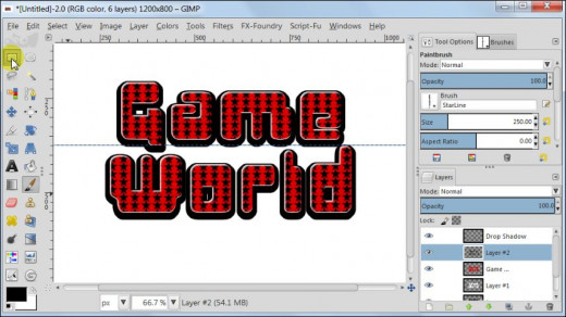 Fig. 10  Making a glossy text with star pattern inside in GIMP 2.8