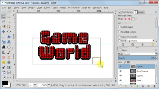 Fig. 12 Making a glossy text with star pattern inside in GIMP 2.8