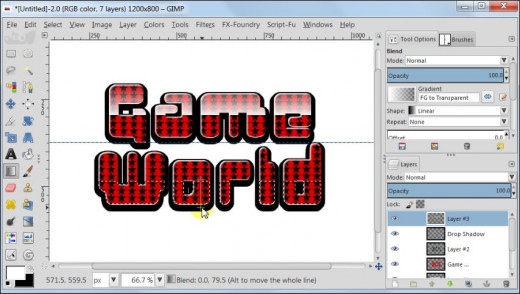 Fig. 15  Making a glossy text with star pattern inside in GIMP 2.8