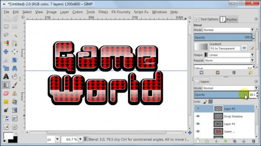 Fig. 16  Making a glossy text with star pattern inside in GIMP 2.8