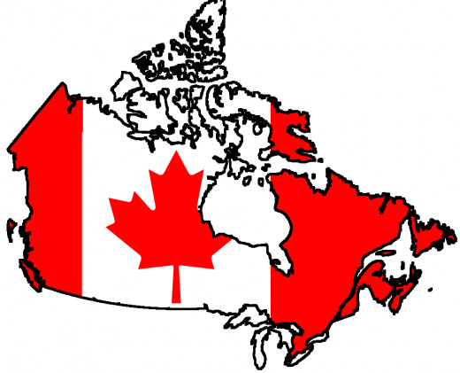 Flag of Canada over country contour