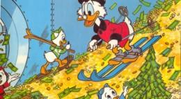 Scrooge McDuck skiing on money