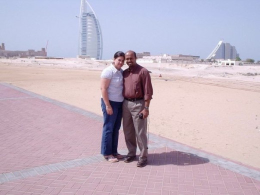 Rony and I on the Persian Gulf beach in Dubai during our first in-person meeting, 2004, with the famous Burj al Arab hotel in the background.