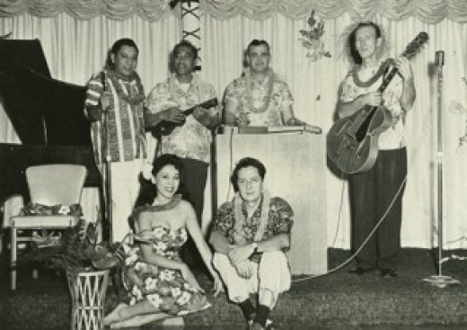 Walter Holokai, Sr. pictured with the ukulele and a few members of his band, The Beachcombers.