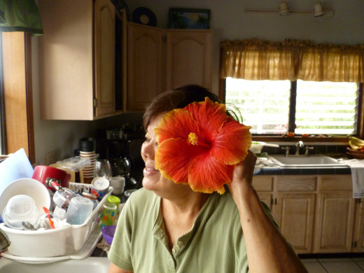 Mom and Her Giant Hibiscus