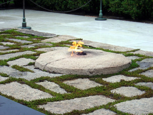 The eternal Flame at John F. Kennedy's gravesite