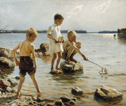Boys Playing on the Shore, 1884 by Albert Edelfelt (1854-1905). Public Domain Image.