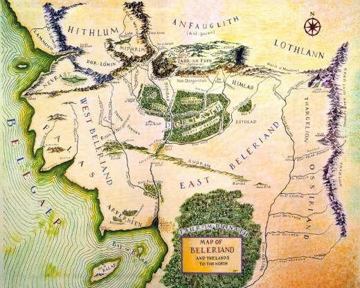 Map of the northwestern part of Middle-Earth, Beleriand, where the bulk of The Silmarillion takes place.