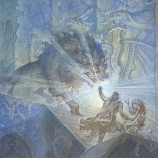 Beren and Lúthien Tinúviel fleeing from a minion of Morgoth with a Silmaril in hand.