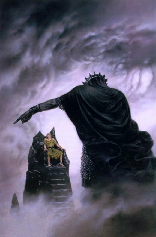 Morgoth cursing a captive Hurin.