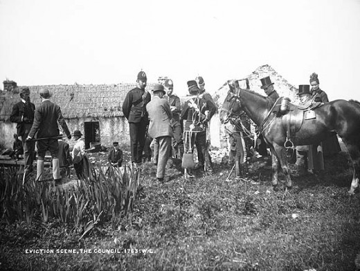 Public Domain Image. Eviction in Ireland (Vandeleur Estate, County Clare. Circa 1880s or 1890s).