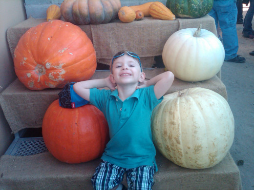 My son at the pumpkin patch three years ago.