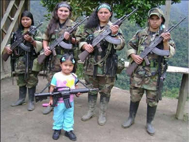 FARC communist guerrilla forces women and children to fight. If they flee they are shot.