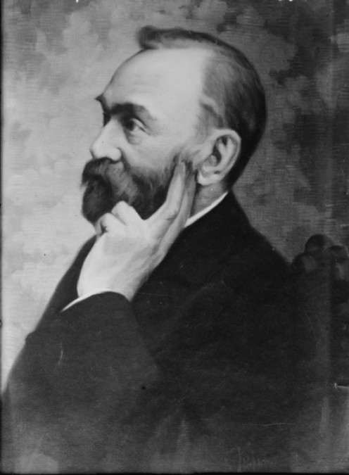 A portrait of Swedish scientist and inventor, Alfred Nobel (1833 - 1896) who left The Nobel Peace Prize as a legacy in his will.