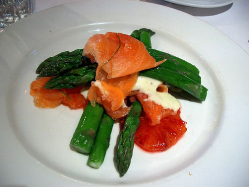 Menstrual cramps relief can be obtained from salmon and asparagus.