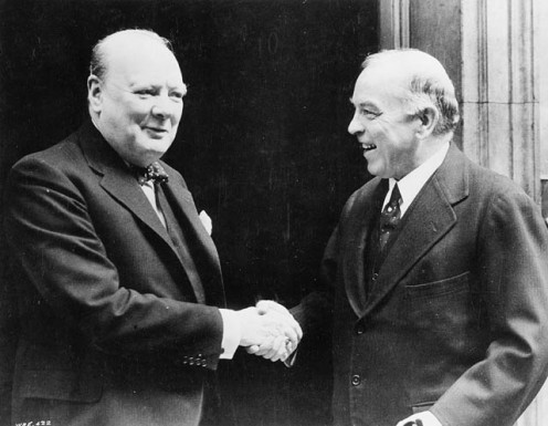 Winston Churchill welcoming W.L. Mackenzie King to London, 1941
