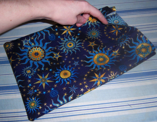 Once you've sewn three edges and turn the pillow inside out, you'll have a bag like this one.