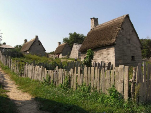 A reconstruction of what the first pilgrim settlement probably looked like