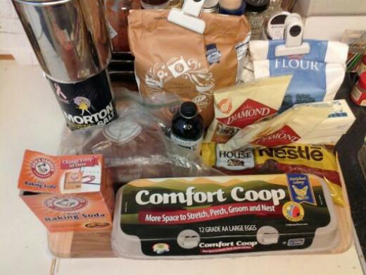 Needed ingredients for chocolate chip hazelnut cookies
