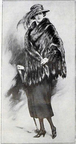 Neat Vintage Image.  Neat Black and White Image of a Lady in Fancy clothing, with hat, furs, etc.