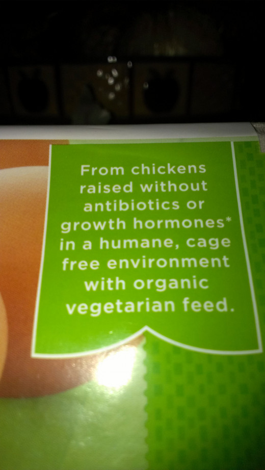 "The key words here are ""organic vegetarian feed.""  The cheaper version of the eggs have ""vegetarian feed."" which tells us there is something less quality in their feed (can you say GMO?)"