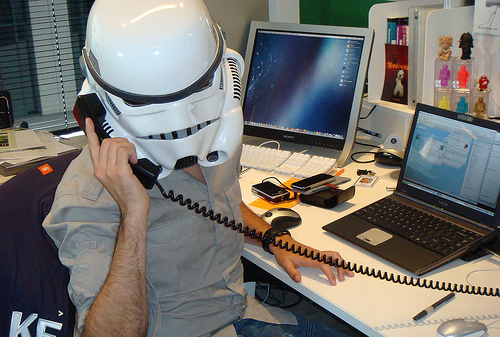Conference calls can be taken anywhere a person is - if you happen to be at a Star Wars convention...