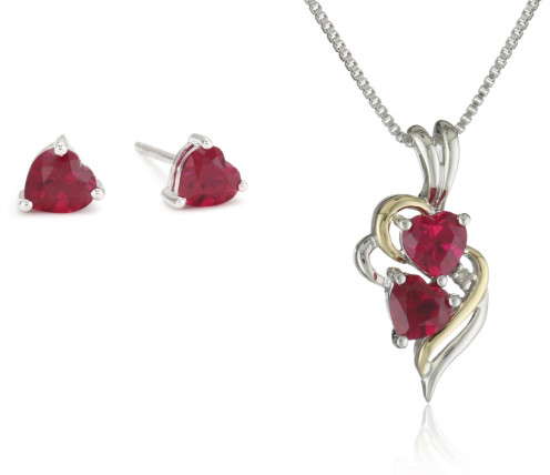 This necklace and earrings with ruby gemstones would surely look fantastic on your Mother.