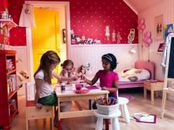 Pink kids room design for girls