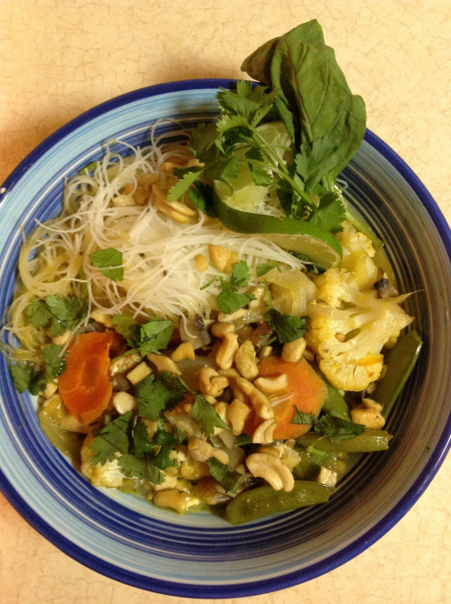Tofu Curry with Cauliflower, Rice Noodles and Cashews from True Food