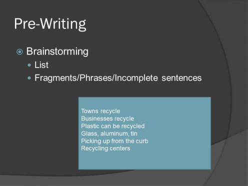 Example of brainstorming using the topic of recycling